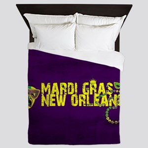 Mardi Gras New Orleans Mask Beads Crow Queen Duvet