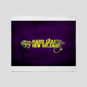Mardi Gras New Orleans Mask Beads Cr Throw Blanket