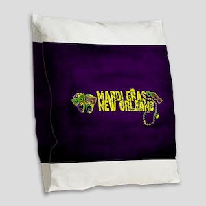 Mardi Gras New Orleans Mask Be Burlap Throw Pillow
