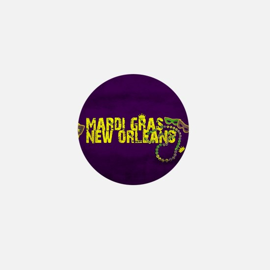 Mardi Gras New Orleans Mask Beads Crow Mini Button