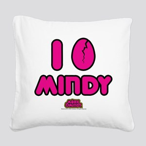 I Egg Mindy Pink Square Canvas Pillow