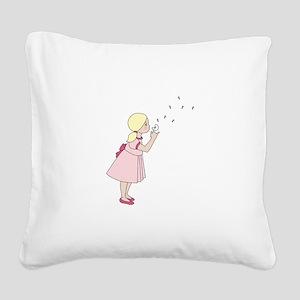 Blowing Dandelion Square Canvas Pillow