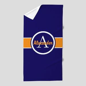 Navy Blue Orange Monogram Personalized Beach Towel