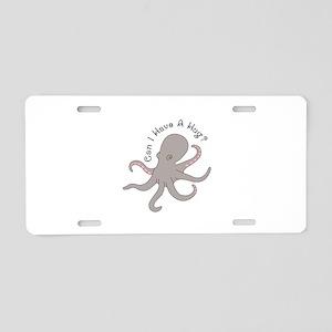 Octopus Hug Aluminum License Plate