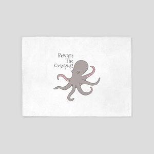 Octopus Beware 5'x7'Area Rug