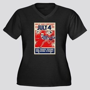 July 4th Unc Women's Plus Size V-Neck Dark T-Shirt