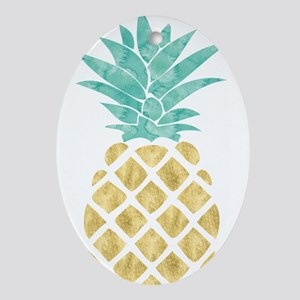 Golden Pineapple Oval Ornament