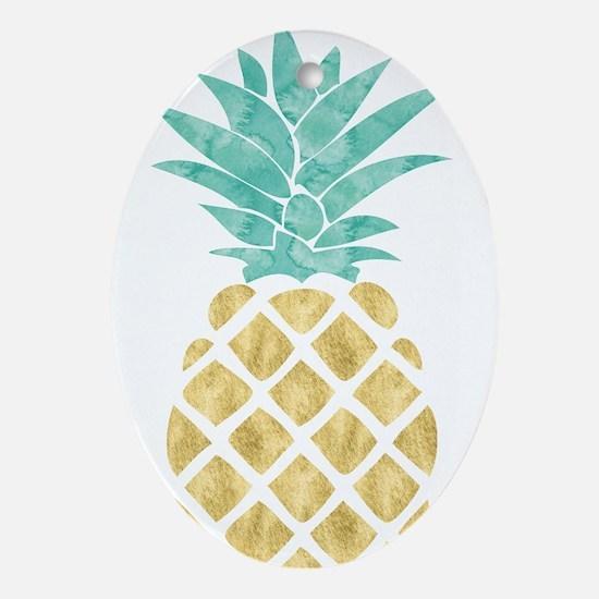 Golden Pineapple Oval Ornament