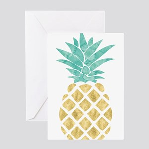 Golden Pineapple Greeting Cards