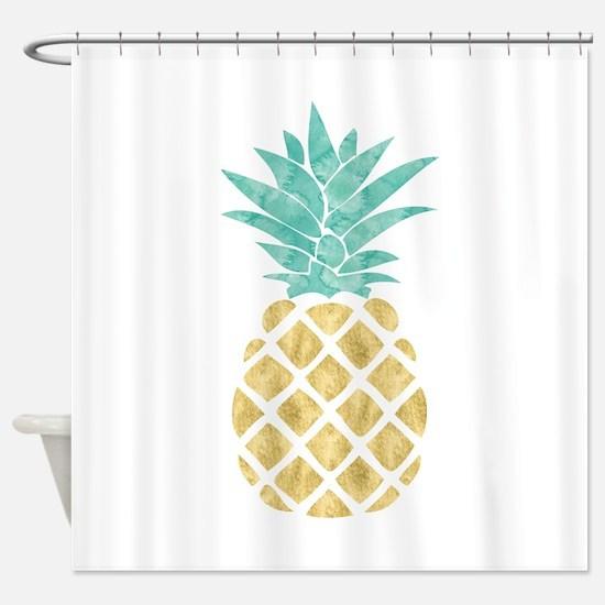 Golden Pineapple Shower Curtain