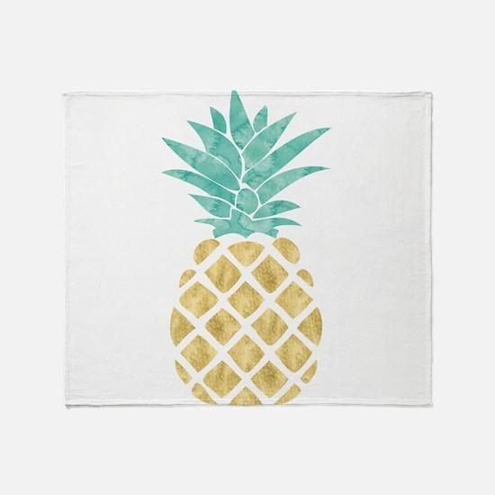 Golden Pineapple Throw Blanket