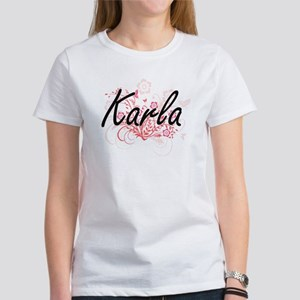 Karla Artistic Name Design with Flowers T-Shirt