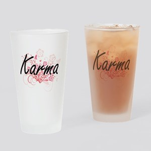 Karma Artistic Name Design with Flo Drinking Glass