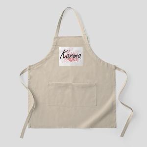 Karma Artistic Name Design with Flowers Apron