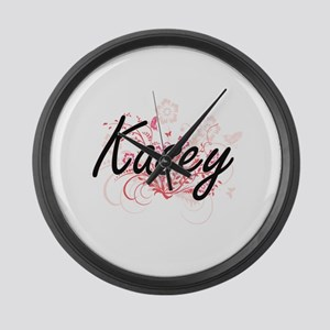 Kasey Artistic Name Design with F Large Wall Clock