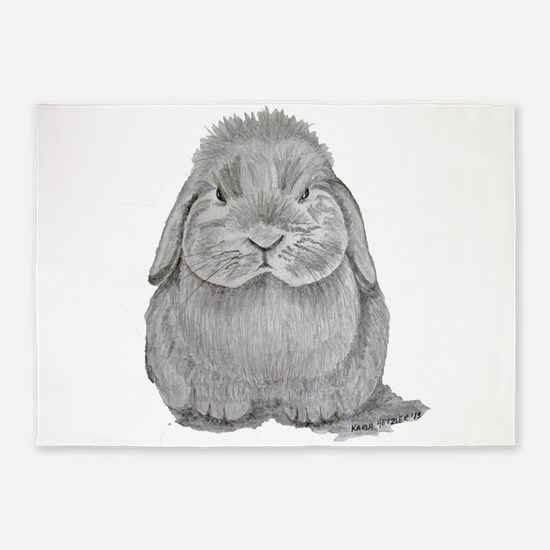Holland Lop by Karla Hetzler 5'x7'Area Rug