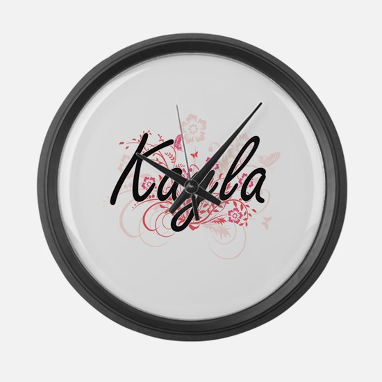 Kayla Artistic Name Design with F Large Wall Clock