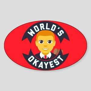 Emoji Okayest Judge Sticker (Oval)