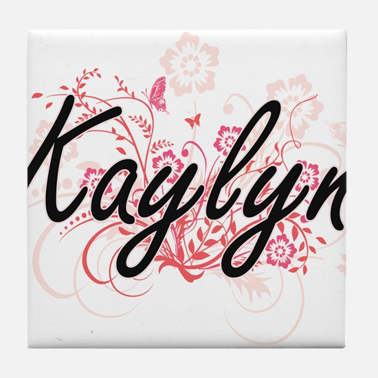 Kaylyn Artistic Name Design with Flow Tile Coaster