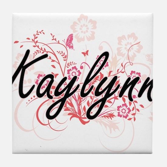 Kaylynn Artistic Name Design with Flo Tile Coaster