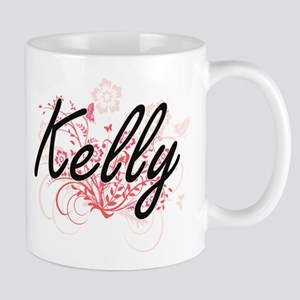 Kelly Artistic Name Design with Flowers Mugs