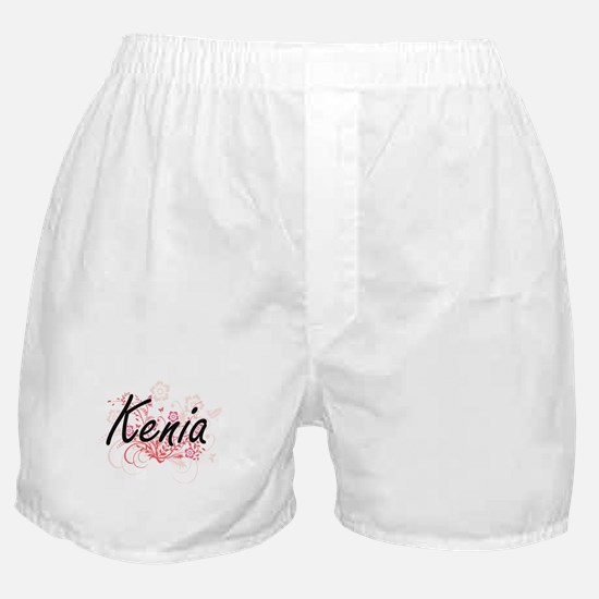 Kenia Artistic Name Design with Flowe Boxer Shorts