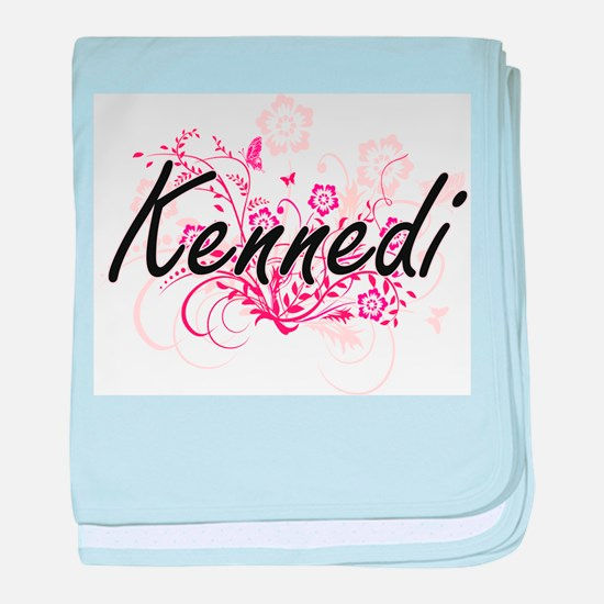 Kennedi Artistic Name Design with Flo baby blanket