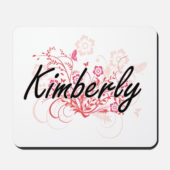 Kimberly Artistic Name Design with Flowe Mousepad