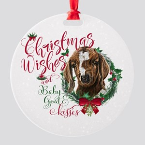 Christmas Goat | Christmas Wishes a Round Ornament