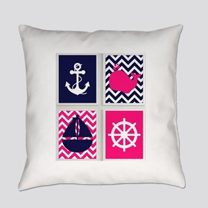 NAUTICAL ON PINK AND BLUE CHEVRON Everyday Pillow