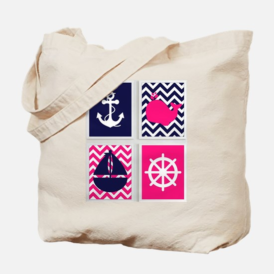 NAUTICAL ON PINK AND BLUE CHEVRON Tote Bag