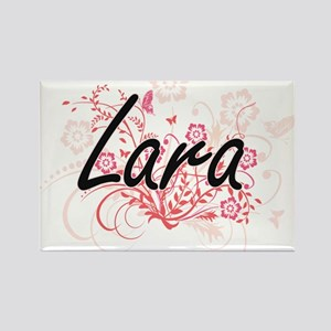 Lara Artistic Name Design with Flowers Magnets