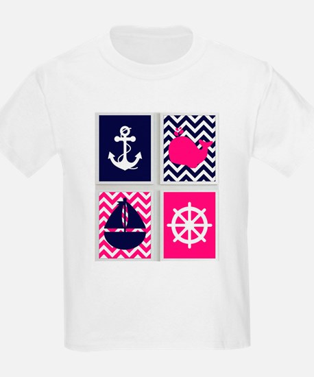 NAUTICAL ON PINK AND BLUE CHEVRON T-Shirt