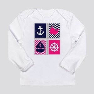NAUTICAL ON PINK AND BLUE CHEVRON Long Sleeve T-Sh