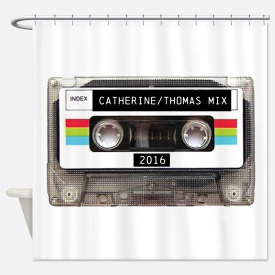 Mixtape CUSTOM label and year Shower Curtain