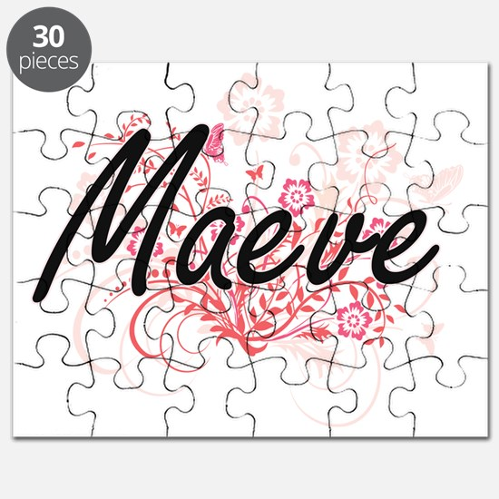 Maeve Artistic Name Design with Flowers Puzzle