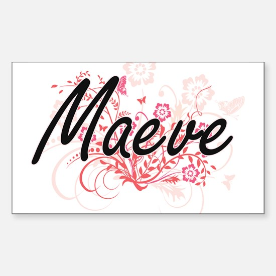 Maeve Artistic Name Design with Flowers Decal