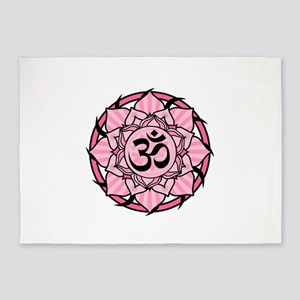 aum-pink 5'x7'Area Rug