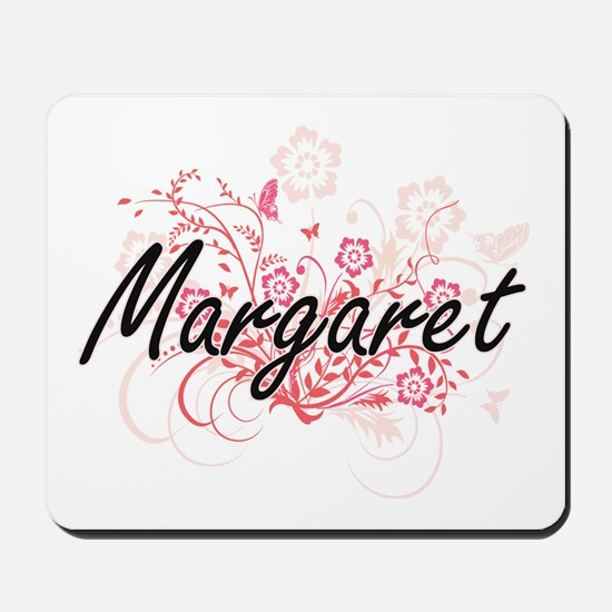 Margaret Artistic Name Design with Flowe Mousepad