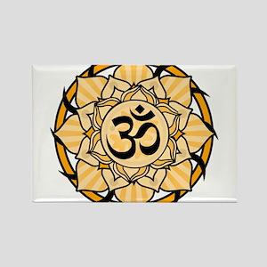 Aum Lotus Mandala (Orange) Magnets