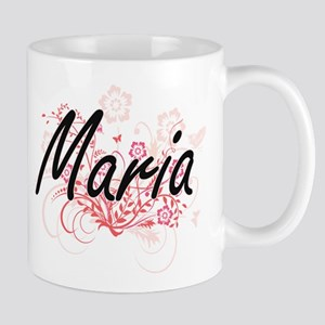 Maria Artistic Name Design with Flowers Mugs