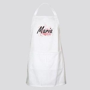 Maria Artistic Name Design with Flowers Apron