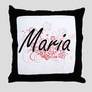 Maria Artistic Name Design with Flowe Throw Pillow