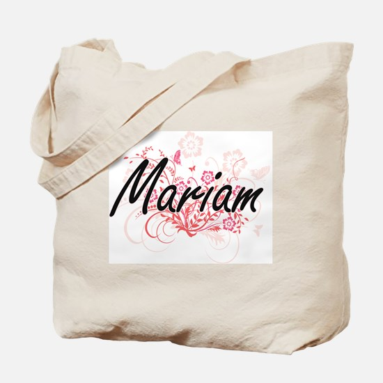Mariam Artistic Name Design with Flowers Tote Bag