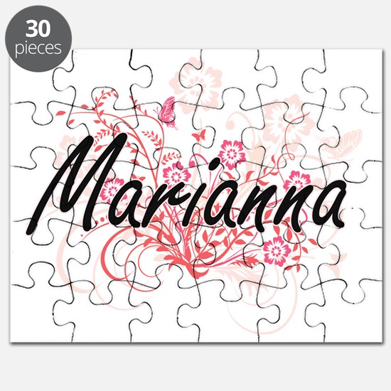 Marianna Artistic Name Design with Flowers Puzzle