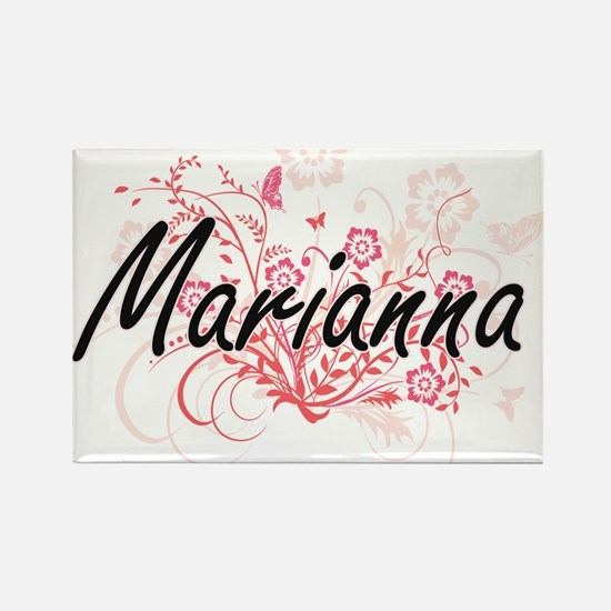 Marianna Artistic Name Design with Flowers Magnets