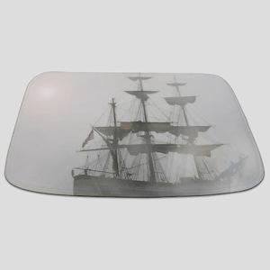 Grey, Gray Fog Pirate Ship Bathmat
