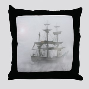 Grey, Gray Fog Pirate Ship Throw Pillow