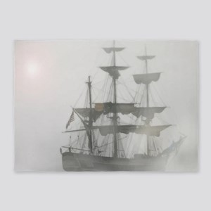 Grey, Gray Fog Pirate Ship 5'x7'Area Rug