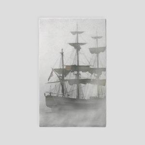 Grey, Gray Fog Pirate Ship Area Rug